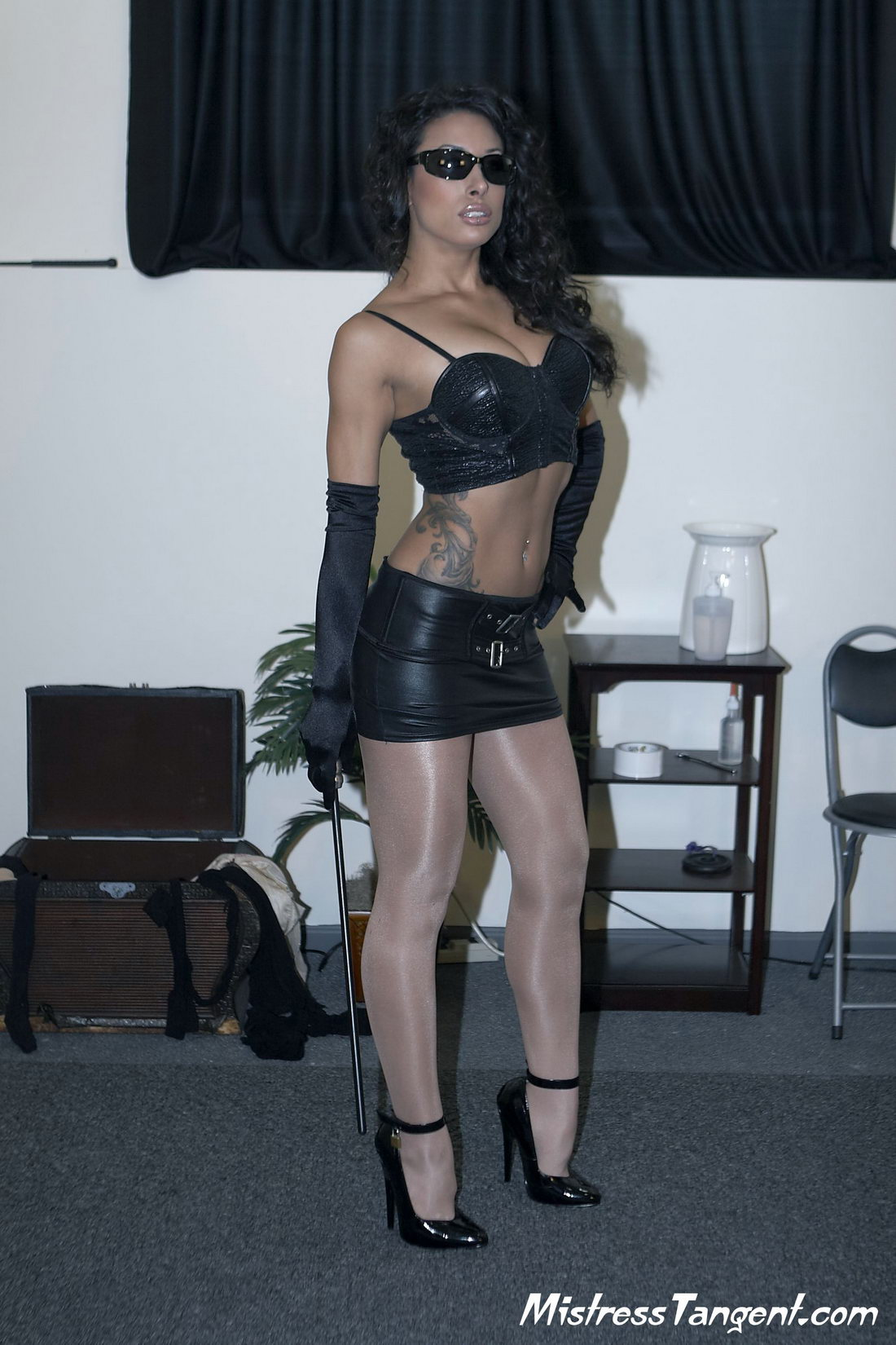 Black Shiny Pantyhose Heels Skirt